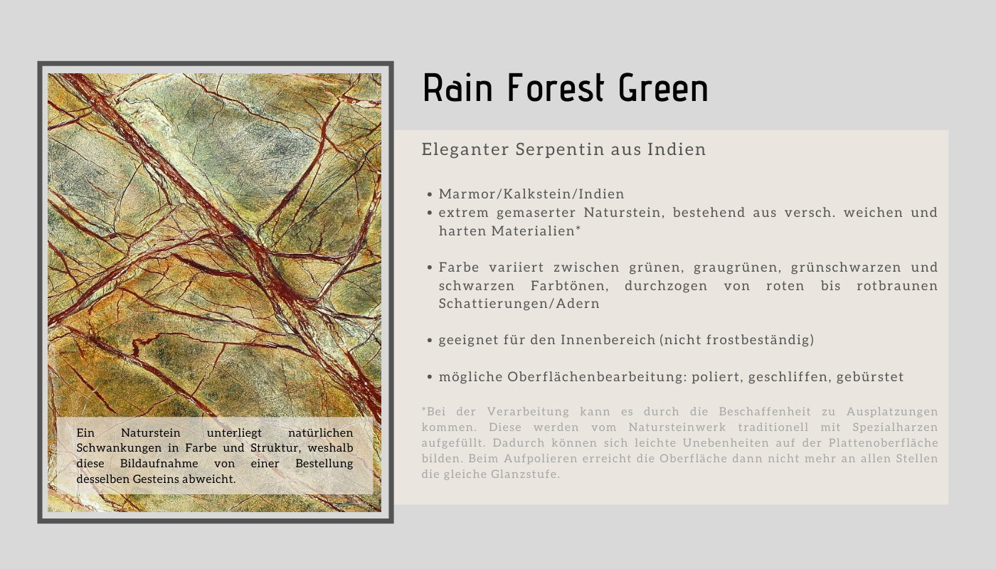 informationen rain forest green marmor